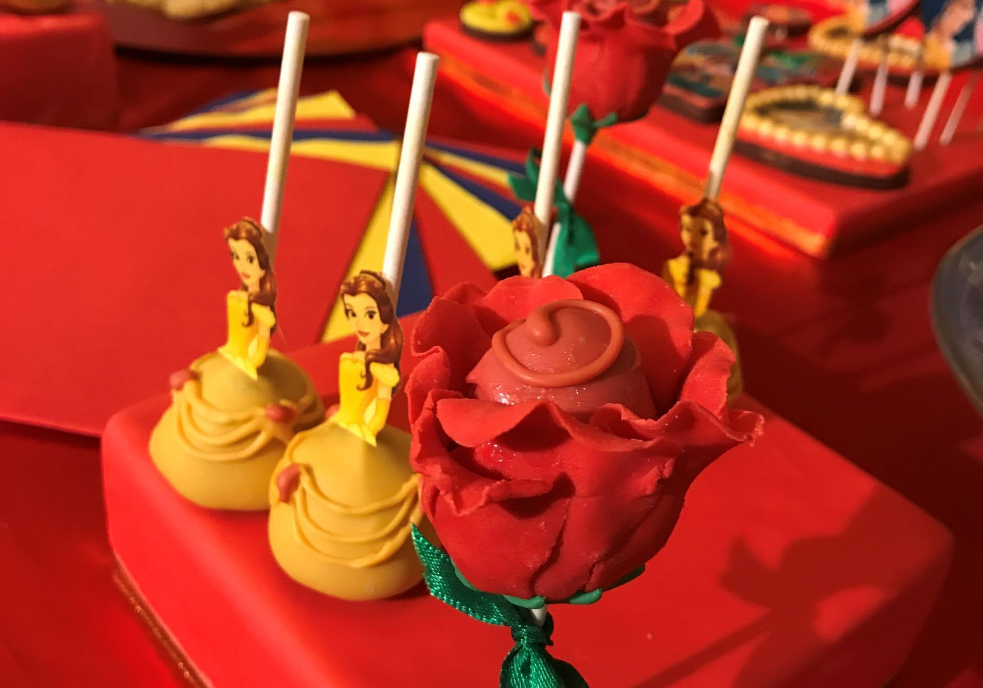 beauty and the beast cakepops